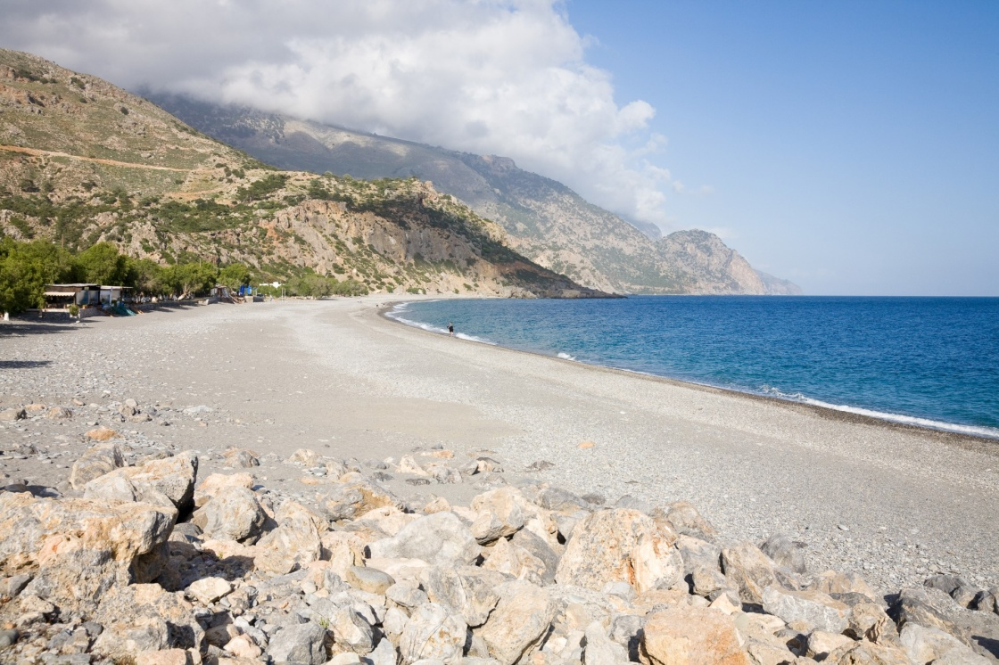 The beach of Sougia in southern Crete, Greece